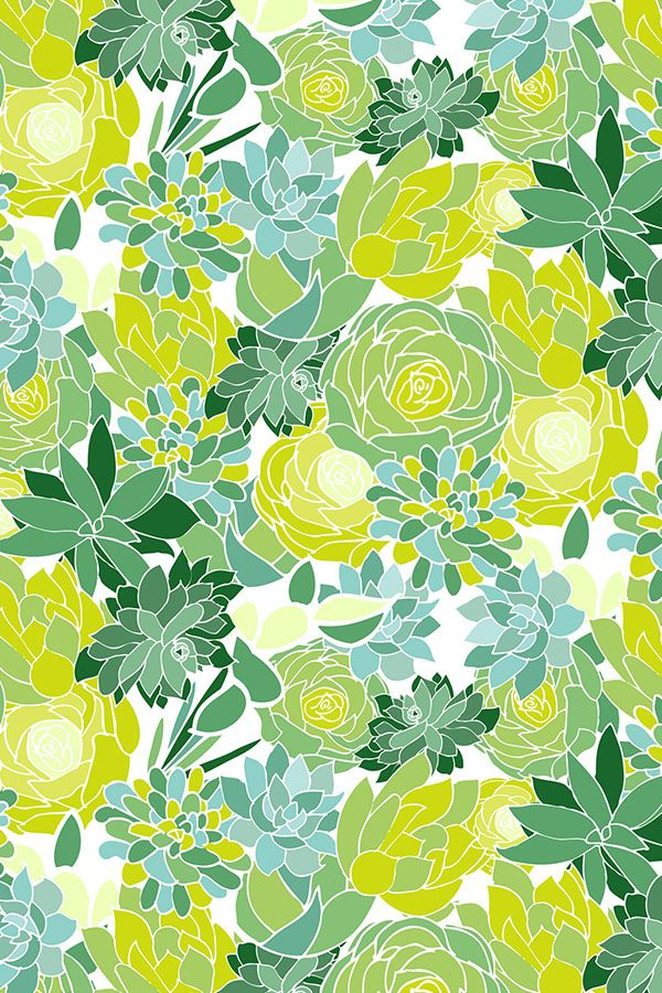 Succulent Succulents by emilyannstudio - A fresh and fun floral, succulent pattern in green, lime, blue, and aqua on fabric, wallpaper, and gift wrap.