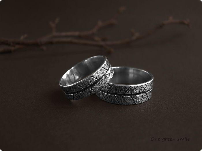 Купить Золотые обручальные кольца с отпечатком листа. Украшение о лесе. - обручальные кольца, унисекс