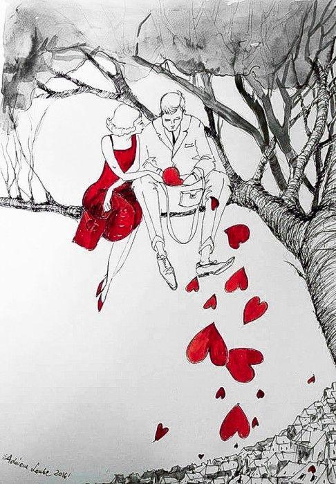 """""""PARA NA DRZEWIE"""" praca piórkiem z dodatkiem akwareli  wykonana przez artystkę plastyka Adrianę Laube na papierze A3."""