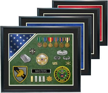 """military shadow boxes display cases   20"""" x 24"""" Double Mat Shadow Box w/ Flag"""