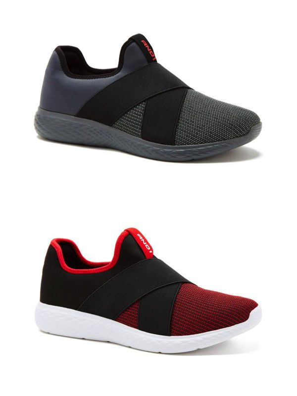 04f4a4fdc9fe And1 Men s Coach Mesh Slip On Athletic Shoe Memory Foam Walking Sneaker Red  Gray  AND1  SlipOn