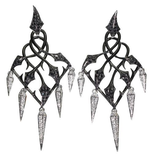 Stephen Webster 'Cascade' earrings set in blackened white gold with black and white diamonds from the Fly By Night collection (£12,000) #jewellery #jewelry