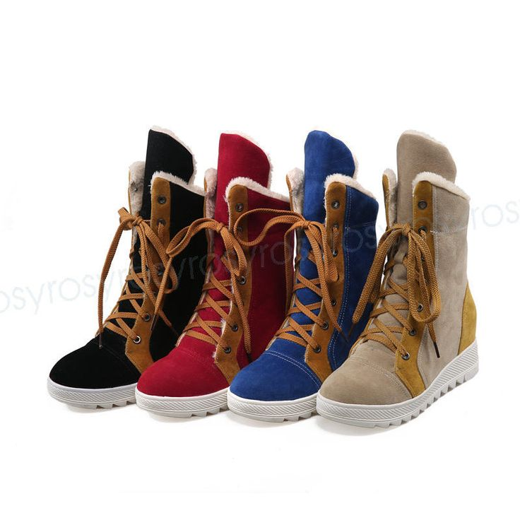 Fashion Womens Med Heel Mid-Calf Boots Shoes Lace Up Increase Us Size  Bbxt0328