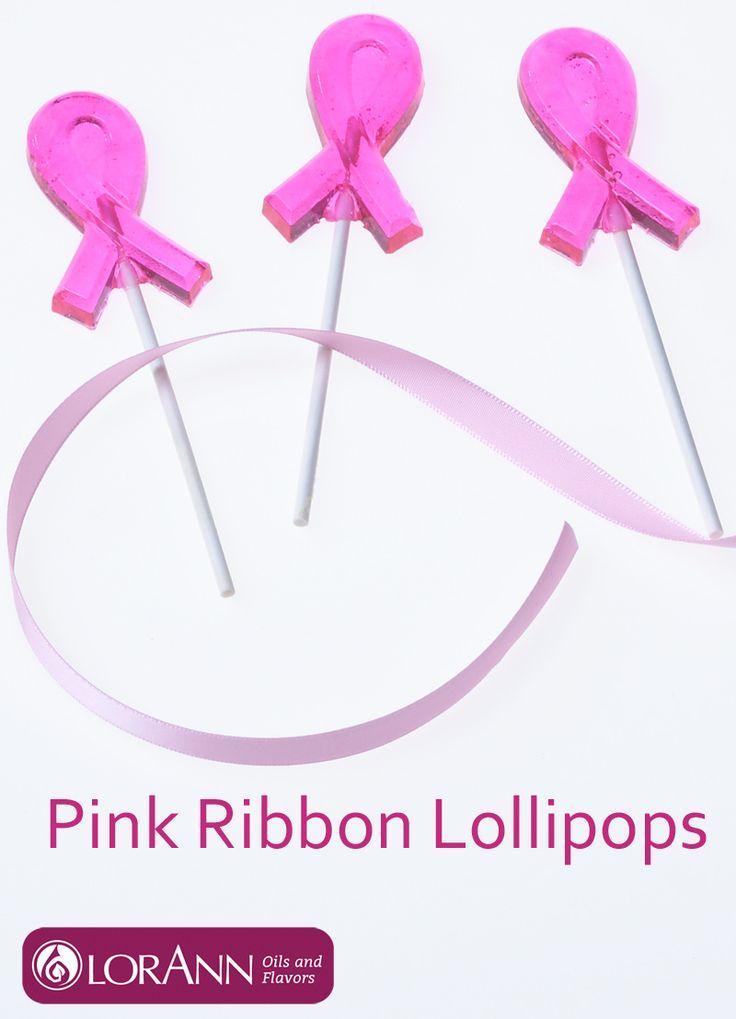 Make pink ribbon lollipops for breast cancer awareness