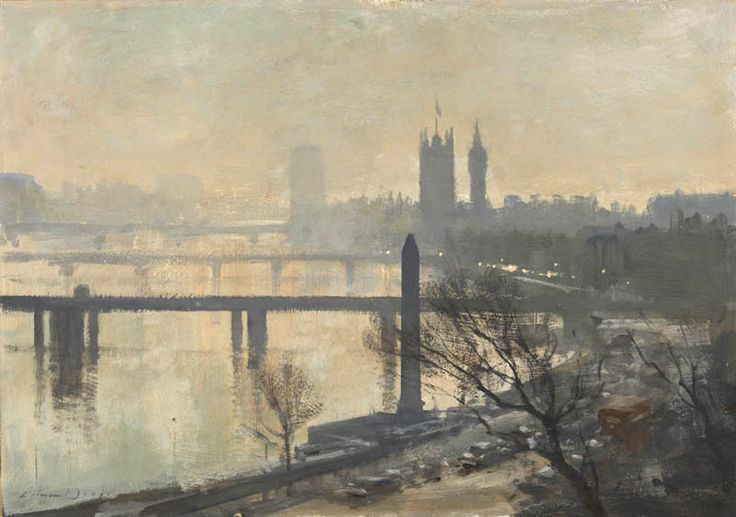 Edward Seago 'The Thames at Westminster' - featuring Cleopatra's Needle