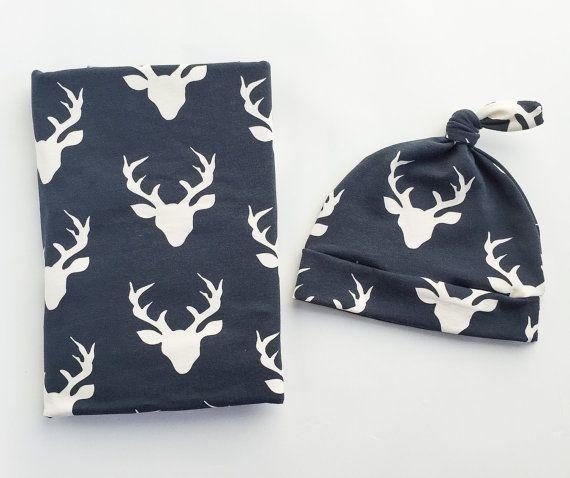 Fasciare coperta e cappello neonato Navy Head - cervo Swaddle Blanket-Buck Baby Blanket - Boy neonato coperta-ospedale Outfit - Woodland