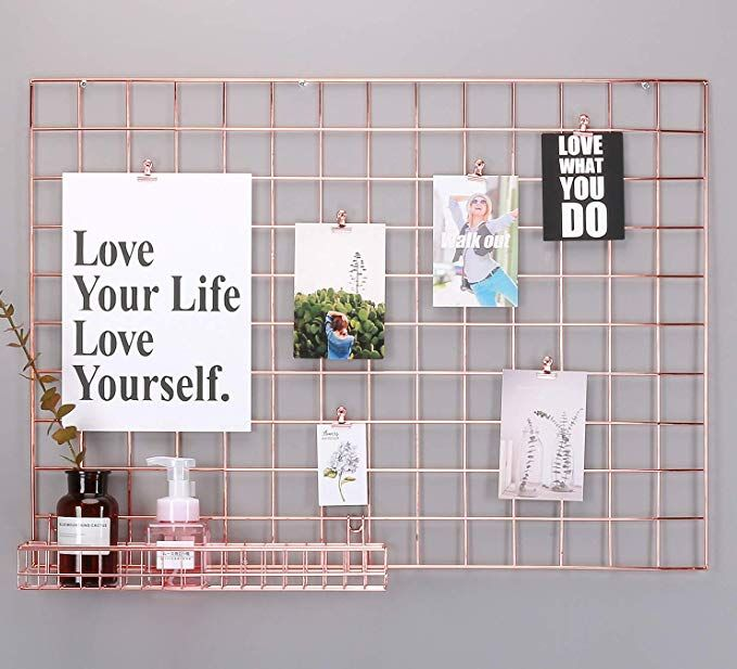Amazon Com Simmer Stone Rose Gold Wall Grid Panel For Photo Hanging Display Wall Decoration Organizer Gold Wall Decor Rose Gold Wall Decor Hanging Photos