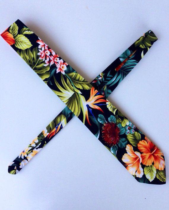 Hawaiian Tie - Black w/ Multicolor flowers -Handmade ...