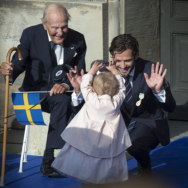 Princess Estelle of Sweden turns two: a gallery of the youngster's sweetest moments Estelle gives her uncle Prince Carl Philip a high five