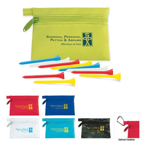 "Links Pouch with Tees Value Pak comes with 10 unimprinted 2-3/4"" Tees. Optional Carabiner. Components come in assorted colors unless otherwise specified. Assorted colors include: white, yellow, red and blue. Case 210 denier nylon, 4 7/8""w x 3 1/2""h x 1/2""d. Tees: Birch Wood."