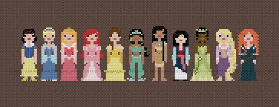 Pixel People  Storybook Princesses  PDF by weelittlestitches, $10.00