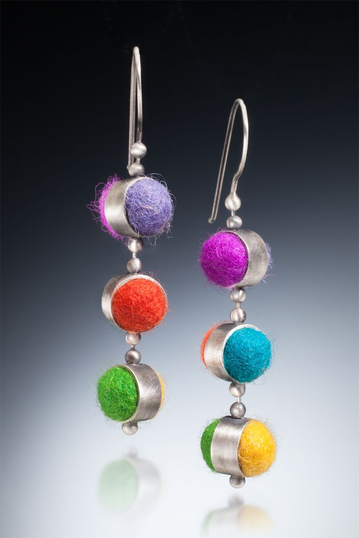 Three drop reversible felt earrings. We have used ball chain as the connecting points so that all pieces have the ability to move 360º Available soon on our website cararomano.com