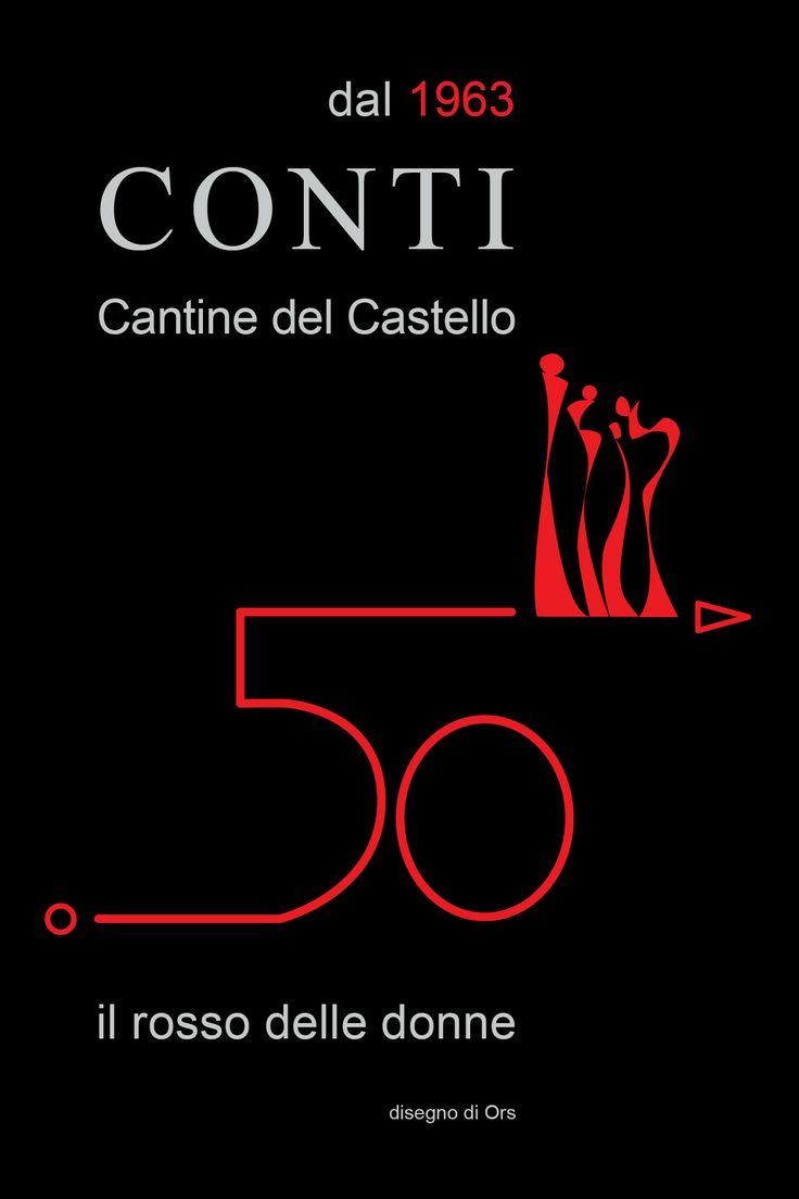 Cantine del Castello Conti - Maggiora (NO). Cartolina con logo per la celebrazione del 50° anno di attività. www.castelloconti.it