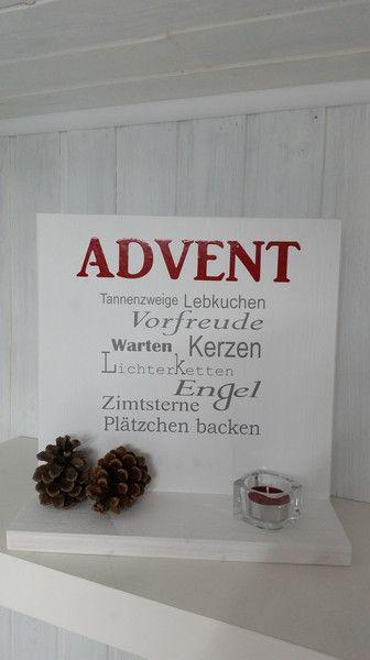 """Deko-Objekte - Holzschild """" Advent """" - ein Designerstück von Firlefanz-Unna bei DaWanda"""
