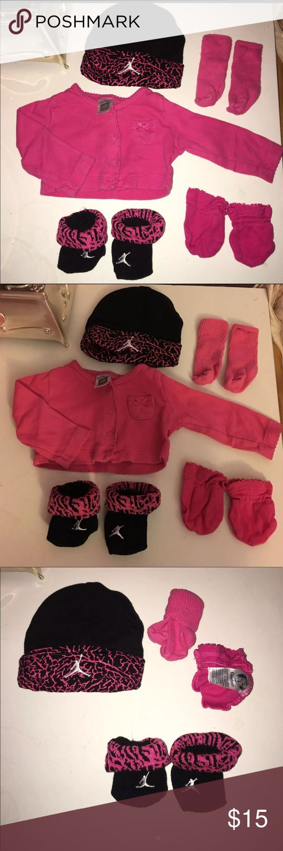 Newborn girl bundle VERY CUTE AND VERY PINK BABY GIRL ITEMS!  -Jordan hat and socks (NWOT), bought them and forgot about them in the diaper bag (0-6 mo)  -little pink sweater (NB)   -pink mittens (0-3 mo)  -pink socks (NB) (GUC)  Brands:  Carter's, Gerber, Jordan Carter's Accessories