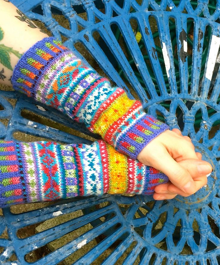 Free Knitting Pattern for Fair Isle Cuffs - Julie Williams' fingerless mitts are knit as a straight tubular cuff worked in bands of Fair Isle color-work. Pictured project by rosyretro