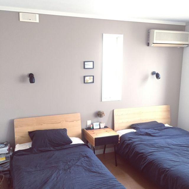 pinocoroさんの、ベッド周り,無印良品,ダイソー,照明,IKEA,100均,モノトーン,シーツしわくちゃ,のお部屋写真