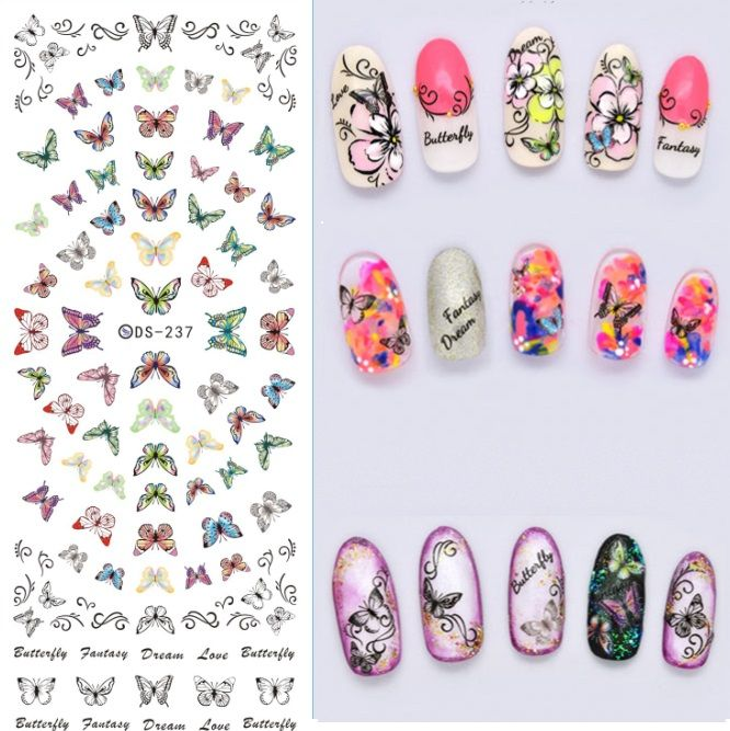 wholesale 5 TYPE 4PIECES beauty Feather  decals flower cut flash water transfer nail art stickers seal alishoppbrasil