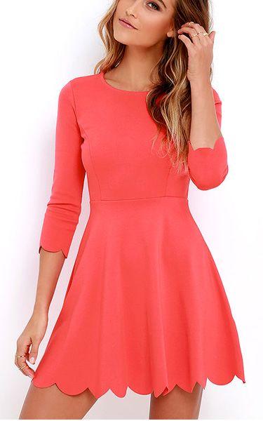 Gorgeous Coral Red Skater Dress via @bestchicfashion