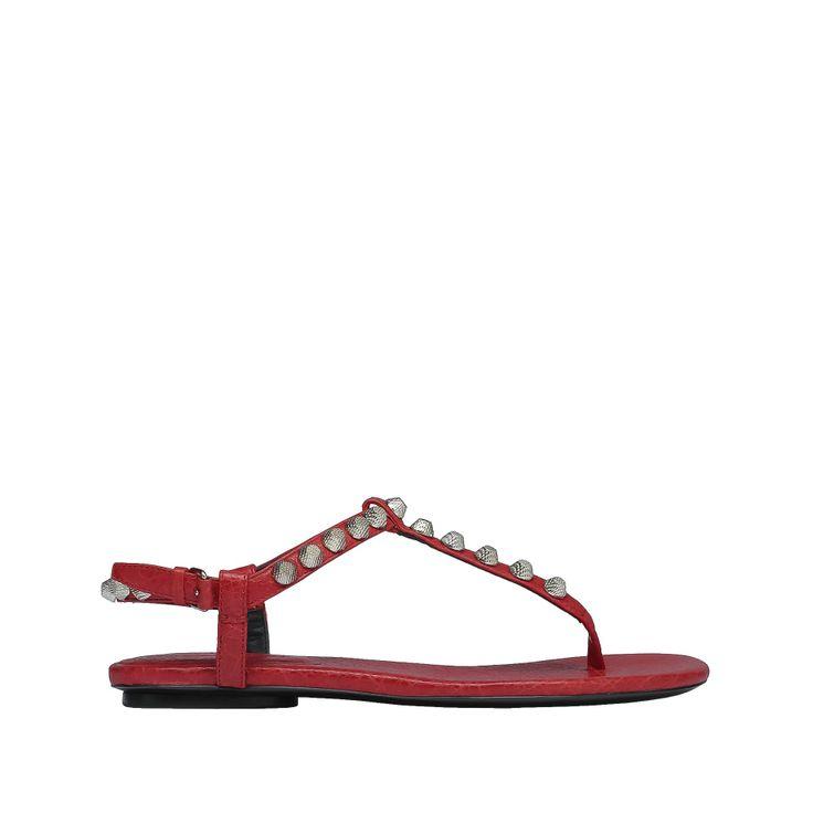 Balenciaga Giant Silver T Strap Sandals Balenciaga - Sandals Women colour Rouge Cardinal - Shoes Balenciaga