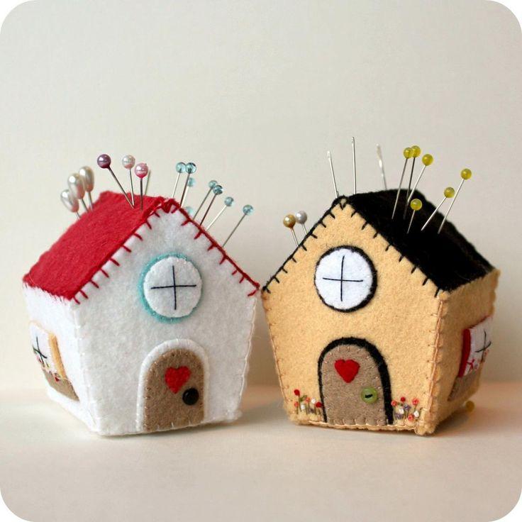 felt house pincousion | Pincushion Cottage Pdf Pattern on Luulla