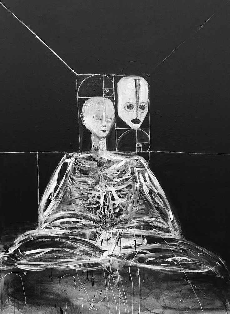 """""""Self Portrait (The Divine Nectar of Life Through Death), 2015"""" Jordan Devlin. Jordan Devlin is a Scottish painter working mainly with black and white."""