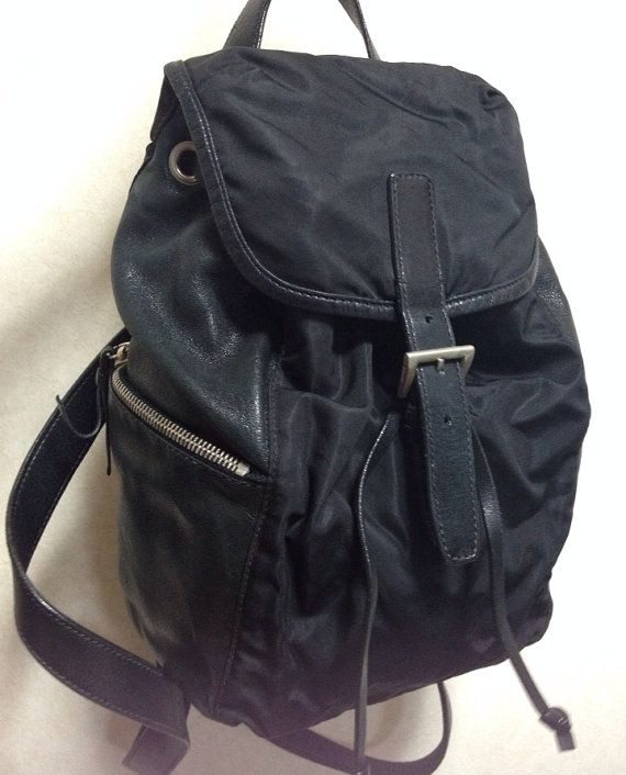 Vintage Prada black nylon backpack with leather trimmings with ...