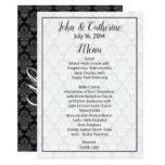Black and White Damask Wedding Table Menu Card #weddinginspiration #wedding #weddinginvitions #weddingideas #bride