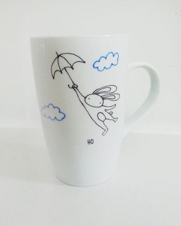 Hand Painted Decorative Porcelain Coffee Tea Mug by YunikDesign