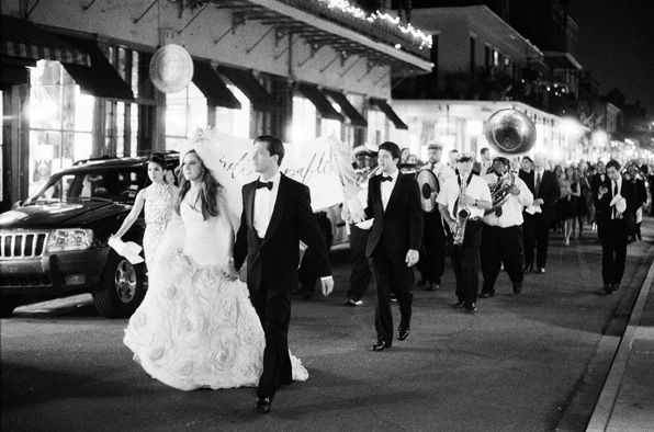 A band followed the bridal party through New Orleans as they processed from the ceremony to the reception!