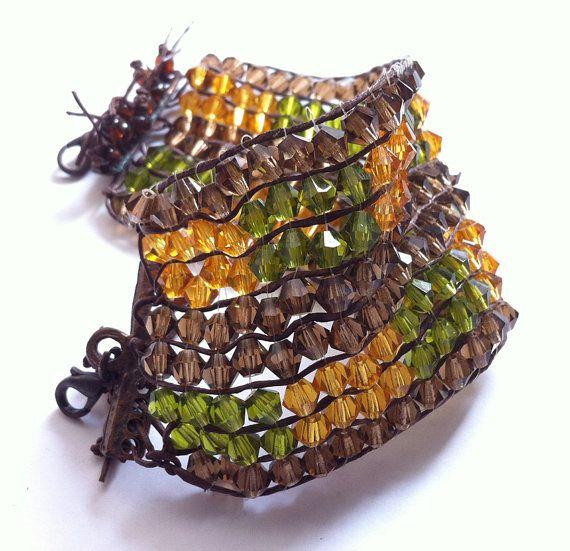 Woven braceletWide wristbandBrown-green-honey by bonmokishop
