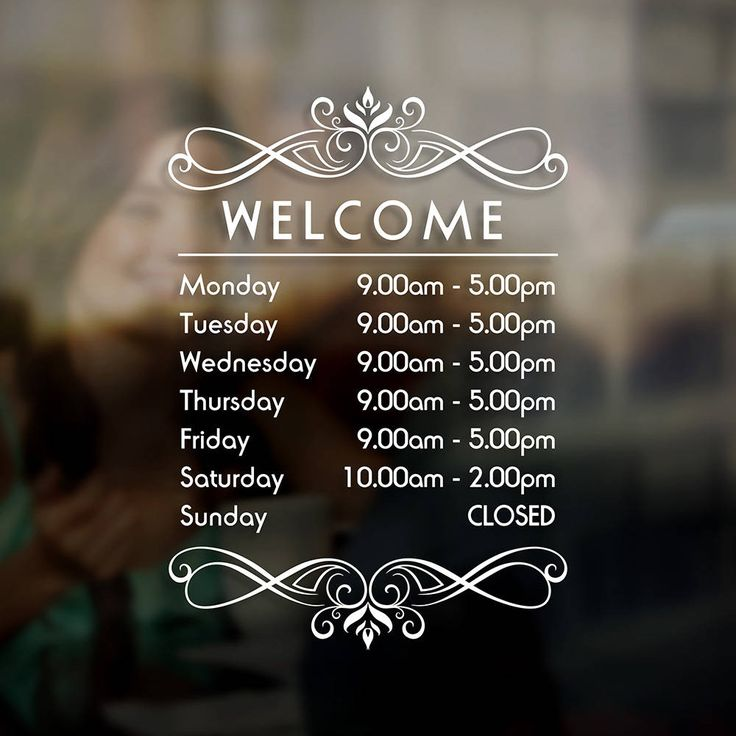Business opening times hours sign sticker window door vinyl decal business hours decal sign opening hours