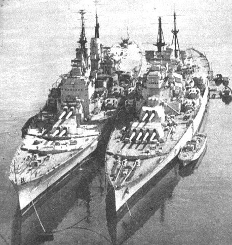 HMS Vanguard and HMS King George V - the former completed too late to see war service.