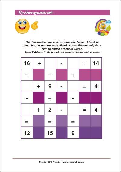 Rechenquadrat - Rechenrätsel Training für Kinder Bei diesem Rechenrätsel müssen die Zahlen 3 bis 8 (2 bis 9) so eingetragen werden, dass die einzelnen Rechenaufgaben zum richtigen Ergebnis führen.