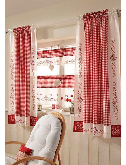 Fenster Gardinen Weiß : gardinen serie rot weiß im heine online shop kaufen gardinen serie