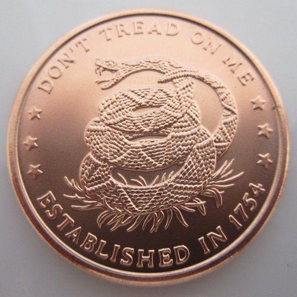 $6.50 Don't Tread On Me 1 oz .999 Pure Copper Challenge Coin