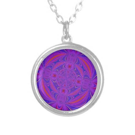 Purple and Blue Swirled Digital Art Necklace