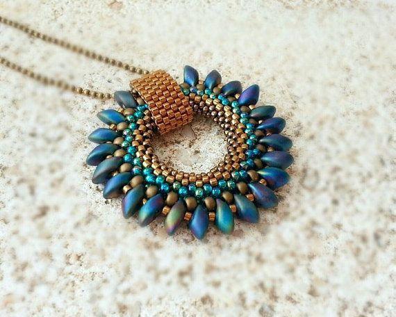 Bronze Blue Green Beaded Pendant with Magatama Beaded by ByElir