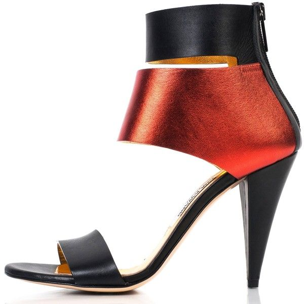 Kim Kwang - Metallic Finish Leather Sandals Red ($885) ❤ liked on Polyvore featuring shoes, sandals, handcrafted shoes, genuine leather shoes, leather sandals, high heel sandals and red leather sandals