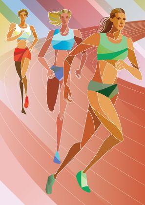 かっこいい陸上女子長距離走者のイラスト Long Distance Running