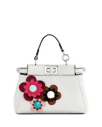 Micro Peekaboo Floral Satchel Bag, White by Fendi at Neiman Marcus.