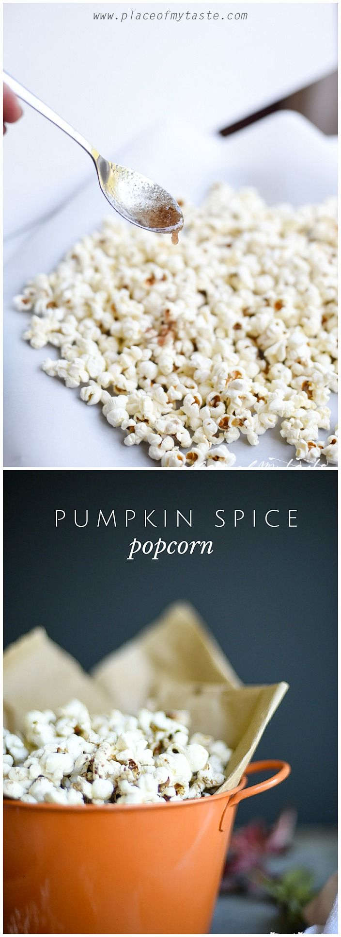 What a perfect snack for fall! Pumpkin Spice popcorn. Yum!