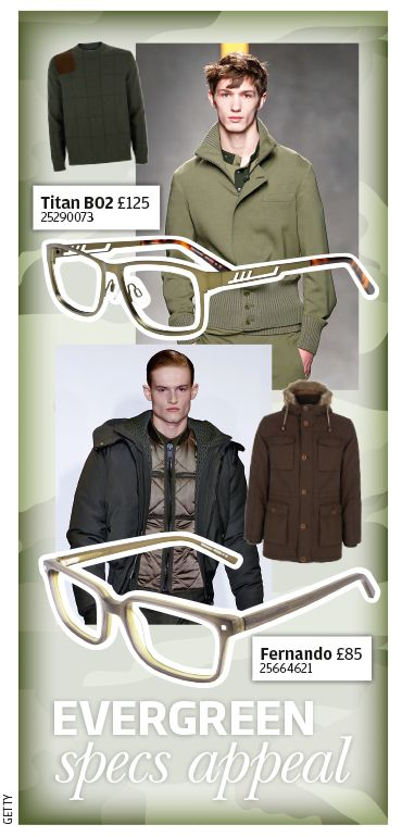 Evergreen specs appeal. Military-inspired specs