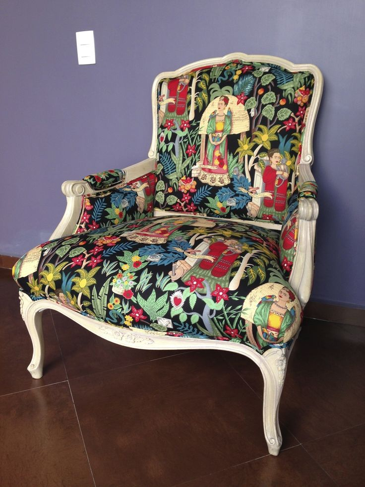 Best Frida Chair Antique Chair Reupholstered With Colorful 400 x 300
