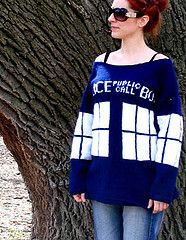 "Doctor Who Tardis sweater - I think this is best summed up with the phrase ""OH GOD I WANT THIS!!!!"""