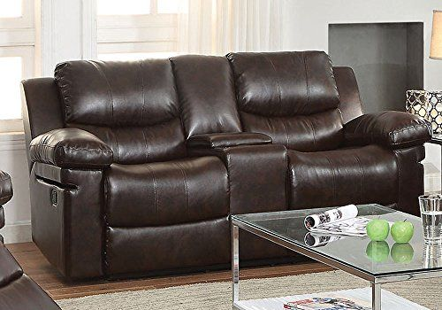 1PerfectChoice Xenos Elegant Motion Recliner Loveseat w Drink Console Dark Brown LeatherAire -- To view further for this item, visit the image link.