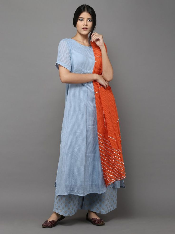 Blue Front Pleat Cotton Kurta