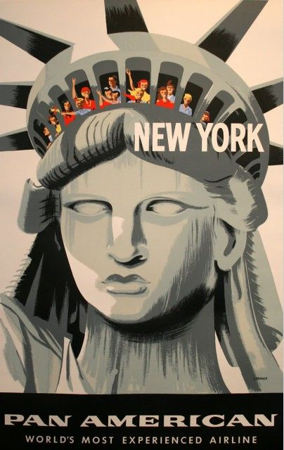 Fly Pan American to New York classic vintage travel destination poster