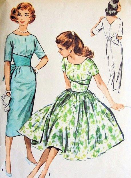 1950s McCALLS 4530 DRESS PATTERN SLIM or FULL SKIRTED MIDRIFF INTEREST V BACK GORGEOUS DESIGN Vintage Sewing Pattern Bust 30