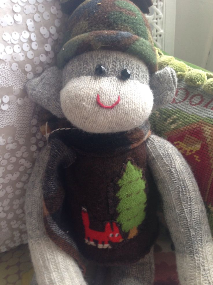 A personal favourite from my Etsy shop https://www.etsy.com/ca/listing/493345325/one-of-a-kind-sock-monkey